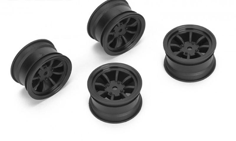 Felge 8-Speichen +1mm, 12mm Hex für M-Chassis, schwarz (4)