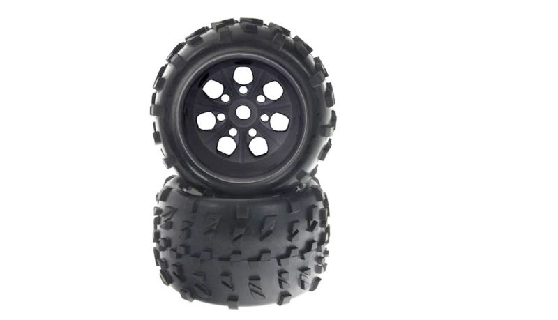 Kompletträder schwarze Felgen 17mm für 1/8 Monstertruck (2)