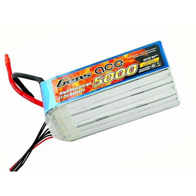 LiPo Akku 5000mAh 6S1P 22,2V 60/120C mit EC5 Stecker