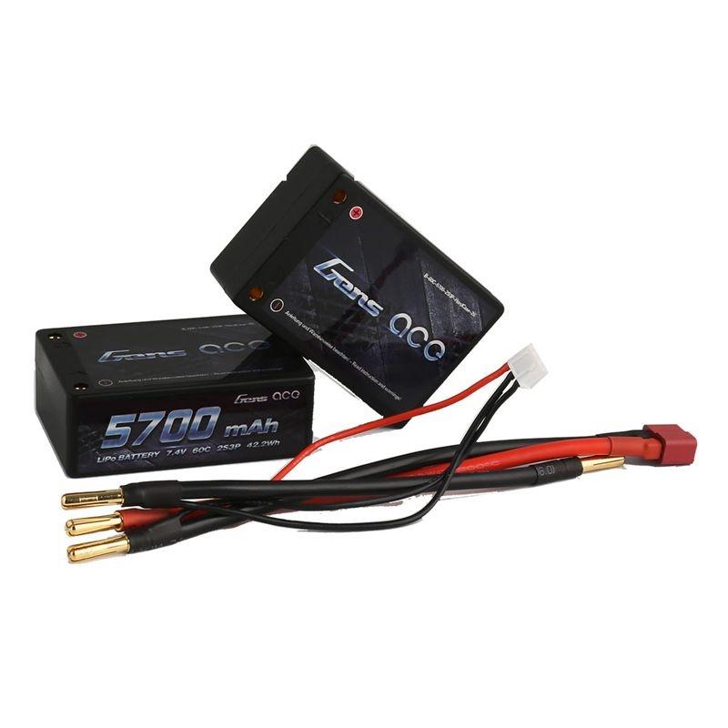 5700mAh 7.4V 60C 2S3P Hardcase Saddle-Pack Lipo