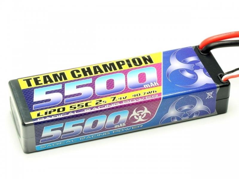 LiPo Akku Team Champion 2S 5500mAh 55c 7,4V, T-Stecker