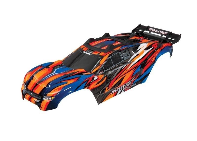 Karosserie fertig lackiert orange mit Halterung Rustler 4x4