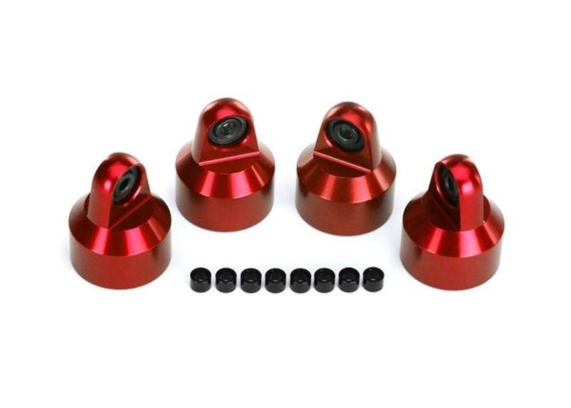 GTX Dämpfer Kappen, Alu (rot-eloxiert), (4) / Distanz X-Maxx