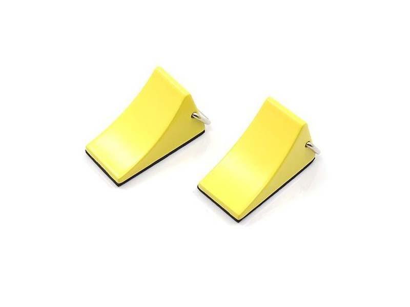 Hemmschuhe aus Metall mit Griff gelb 2 Stück