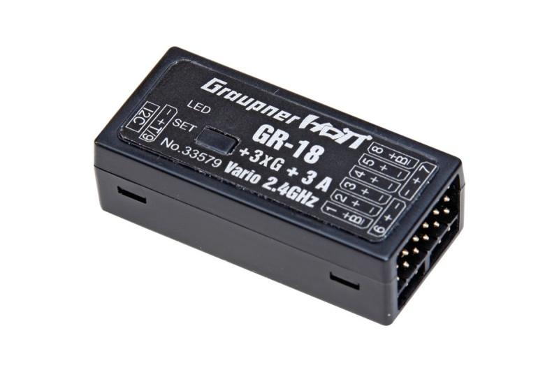 GR-18 +3xG +3A + Vario HoTT 9-Kanal Empfänger 2,4GHz