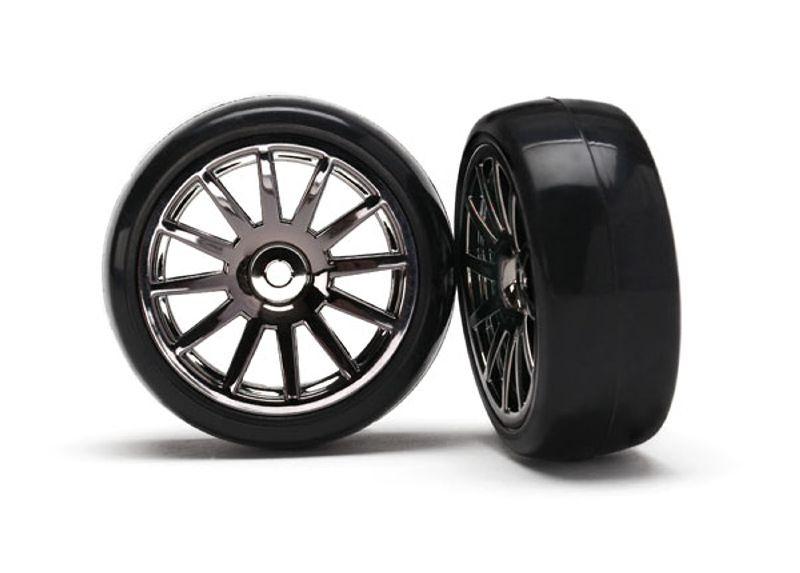 Slick-Reifen auf Felge schwarz-Chrom