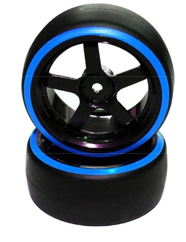 Reifen 1/10 Drift 5-Speichen Felgen 6mm Offset Blau 2 Stück
