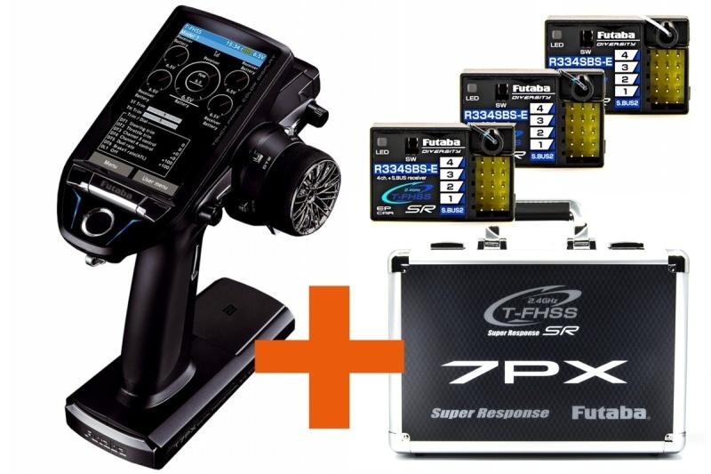 T7PX Profi Fernsteuerung inkl. 3x R334SBS-E + Senderkoffer