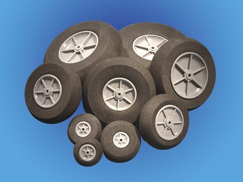 Moosgummi Räder 75mm für Flugmodelle (2)
