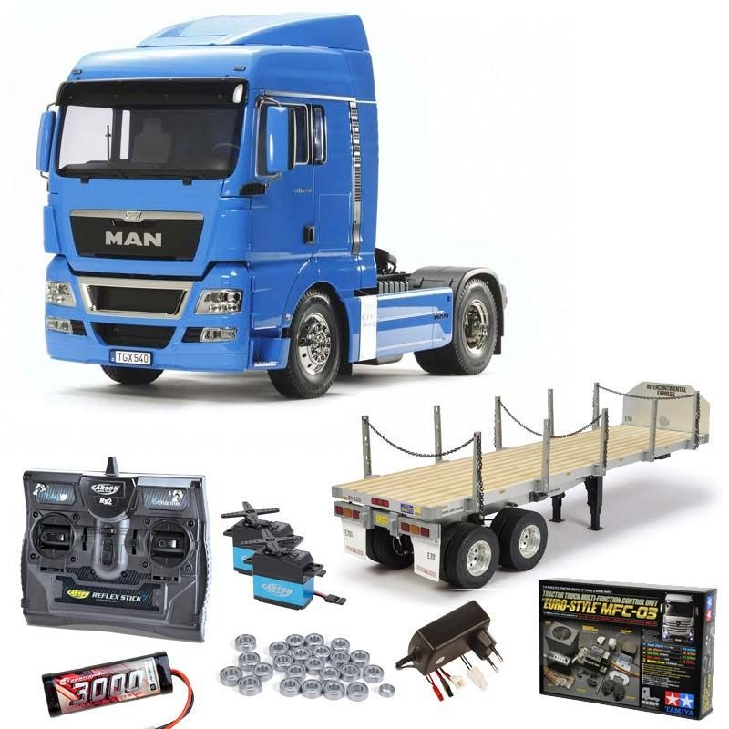MAN TGX 18.540 - French Blue Komplett +MFC, Flachbett, Lager
