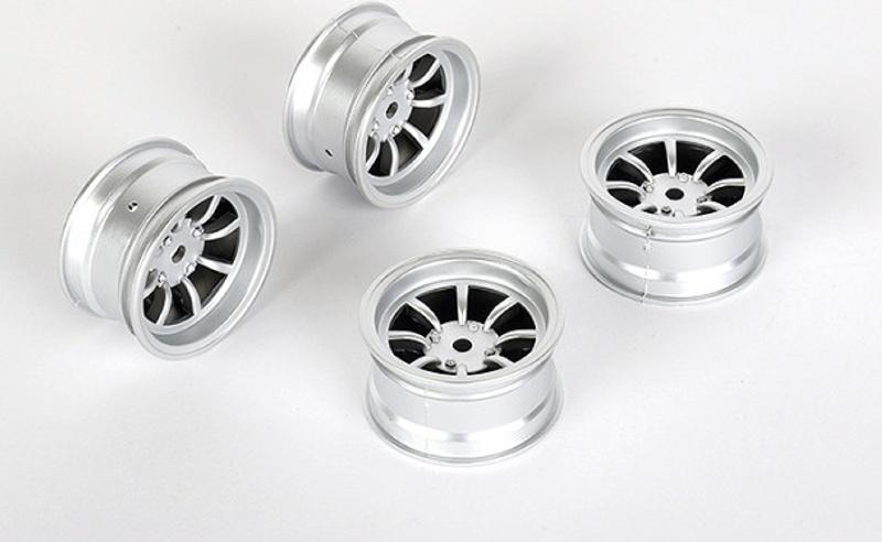 Felge 8-Speichen +4mm, 12mm Hex für M-Chassis, silber (4)