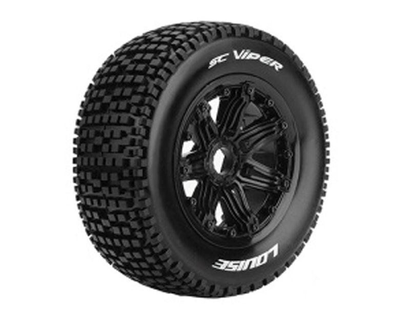 SC-Viper 1/5 SCT Reifen auf Felge schwarz montiert 24mm