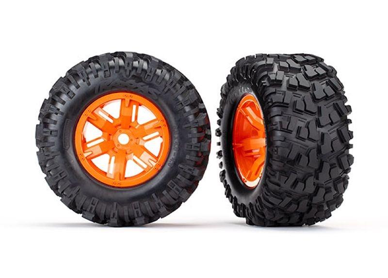 Kompletträder fertig montiert (orangene Felgen) für X-Maxx