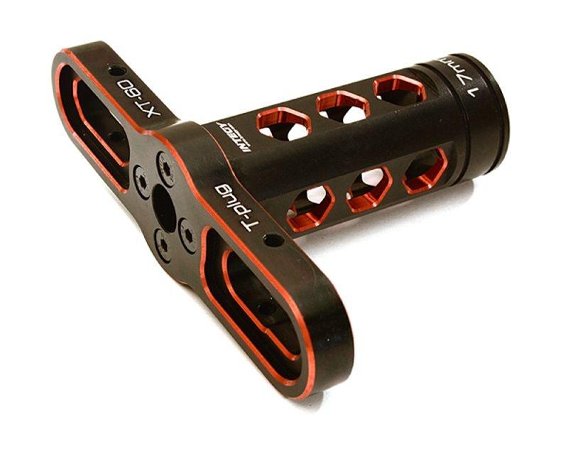 Alu Radmutternschlüssel 17mm mit Löthilfe für Stecker, rot