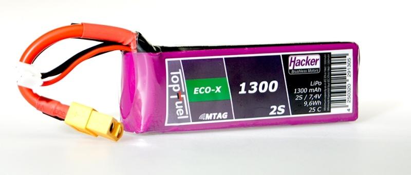 TopFuel LiPo Akku 25C Eco-X 1300mAh 2S MTAG, XT60