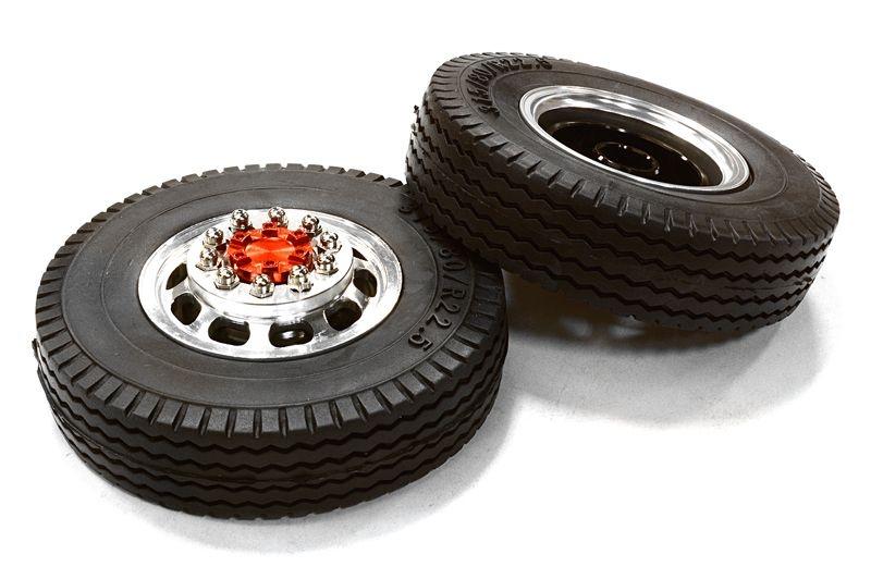 Aluminium Felge vorne mit Reifen für Tamiya 1/14 Scale Truck