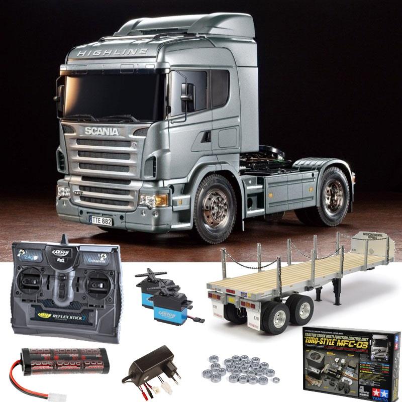 Scania R470 Silber 1:14 Set + MFC-03, Flachbett, Kugellager