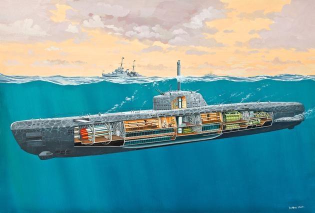 Deutsches U-Boot Typ XXI mit Interieur 1:144
