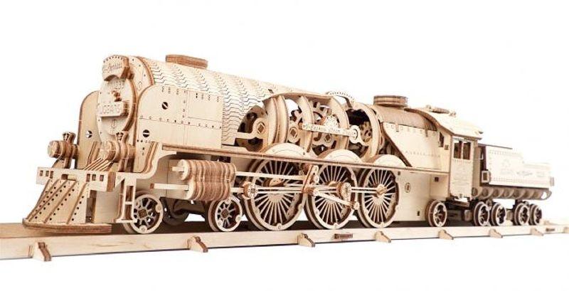 V-Express Lokomotive - mechanischer 3D Holzbausatz