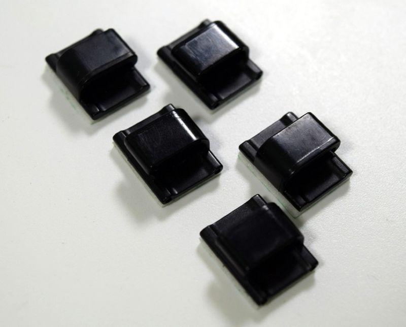 Kunststoffclip für Kabel, 5 Stück, schwarz