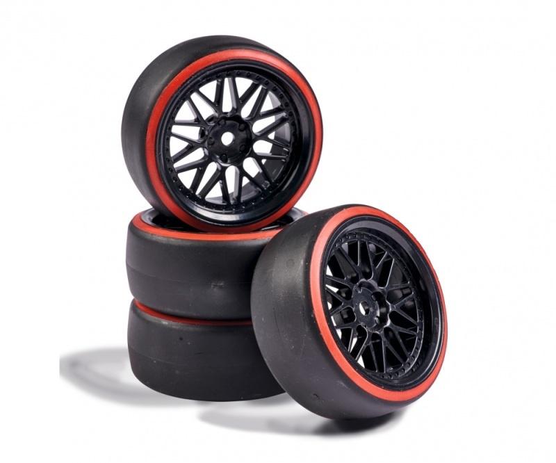 Räderset Drift Komplettrad 1:10 Tourenwagen 12mm schwarz/rot